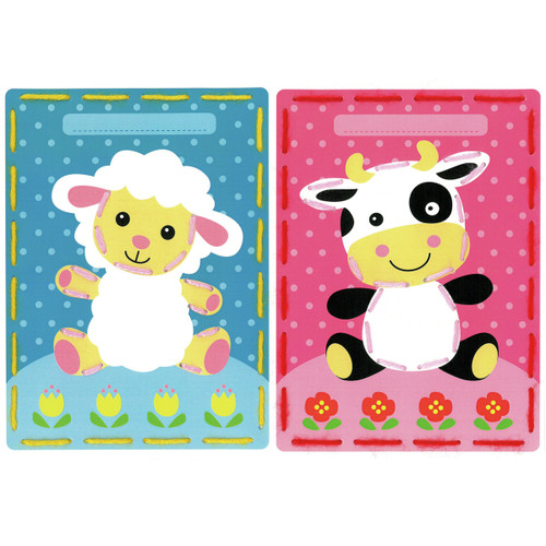 Lamb and Cow Cards (Set of 2)  Embroidery Kit By Vervaco