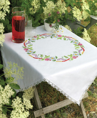 Summer Flowers: Tablecloth Embroidery Kit By Anchor