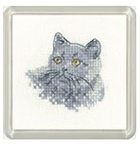British Blue Cat Cross Stitch Coaster Kit By Heritage for Beginners