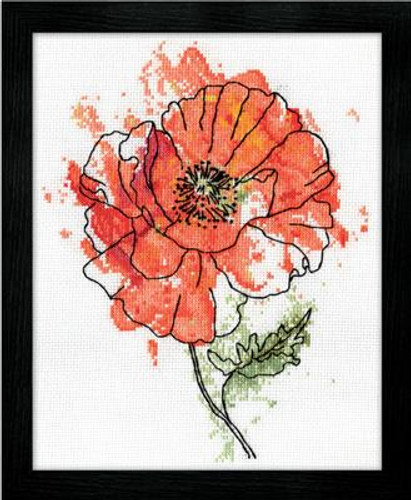 Peach Floral Cross Stitch Kit By Design Works