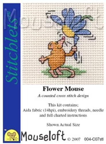 Flower Mouse Cross Stitch Kit by Mouse Loft