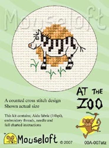 Zebra Cross Stitch Kit by Mouse Loft