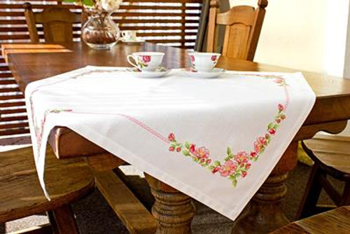 Pink Floral Table Topper Cross Stitch Kit By Luca S