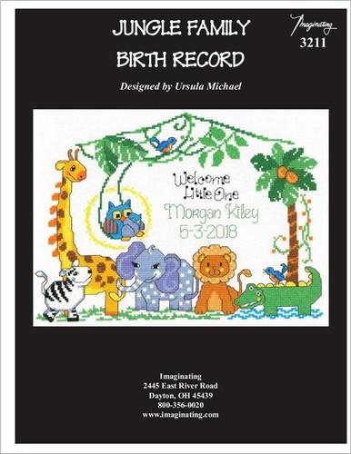 Jungle Family Birth Record Cross Stitch Pattern