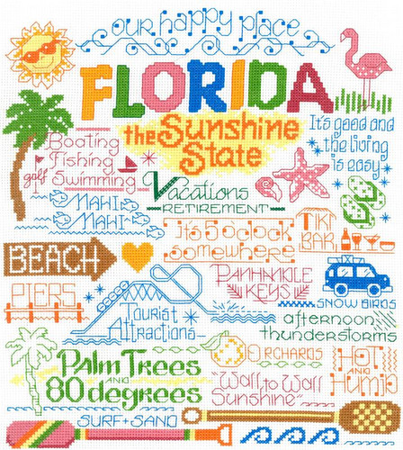 Let's Visit Floriday Cross Stitch Chart by Ursula Michael