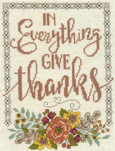 Give thanks Floral Cross Stitch Chart by Diane Arthurs