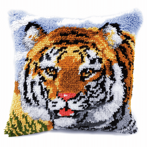 Latch Hook Kit: Cushion: Tiger By Vervaco