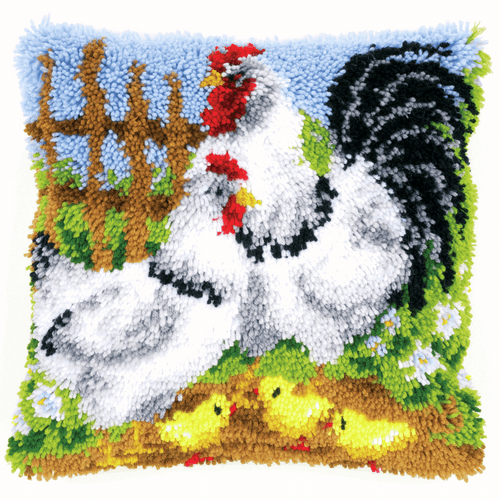 Latch Hook Kit: Cushion: Chicken Family on a Farm By Vervaco