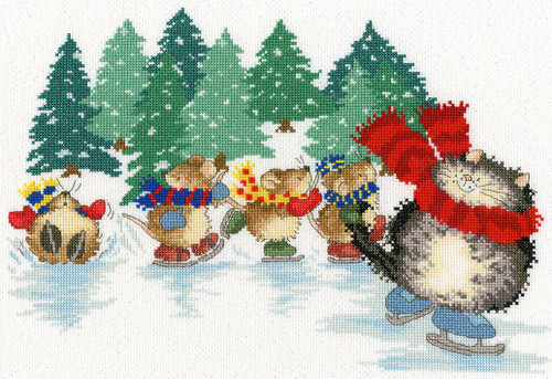 Mice Skating Cross Stitch Kit by Margaret Sherry
