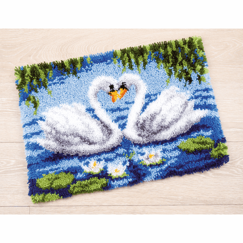 Latch Hook Kit: Rug: Swans by Vervaco