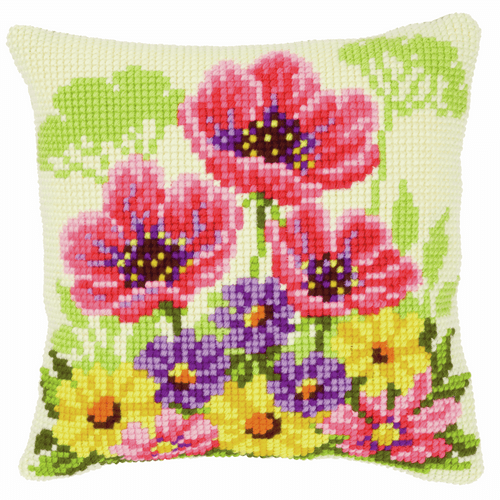 Cross Stitch Kit: Cushion: Poppies By Vervaco
