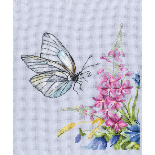 "Cabbage Butterfly Counted Cross Stitch Kit 7.68""X8.27"" by RTO"