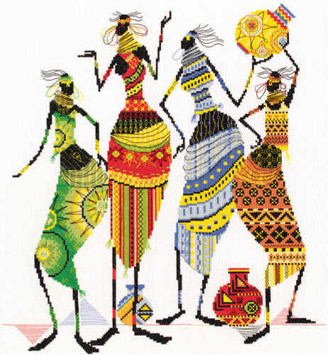 Tribal Friends Counted Cross Stitch Kit By Panna