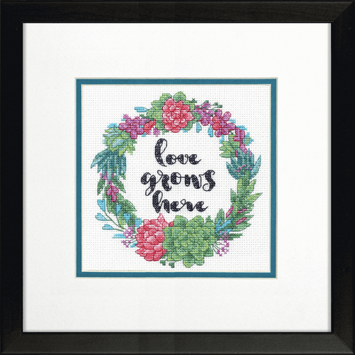 Succulent Wreath Counted Cross Stitch Kit By Dimensions