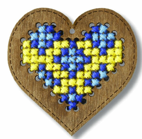 Plywood Ornament: Heart Cross Stitch Kit By Orchidea