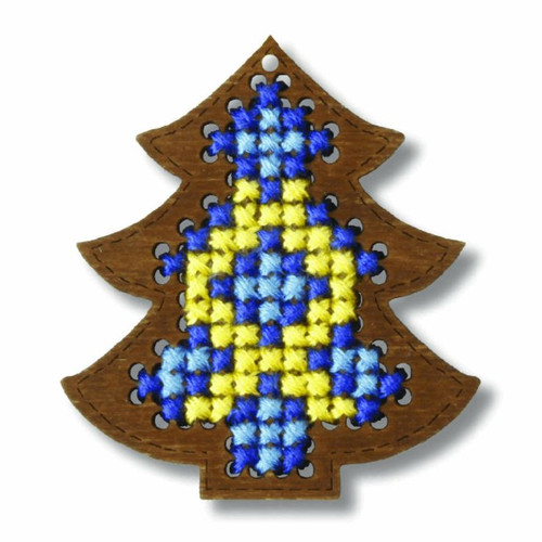 Plywood Ornament: Christmas Tree Cross stitch Kit by Orchidea