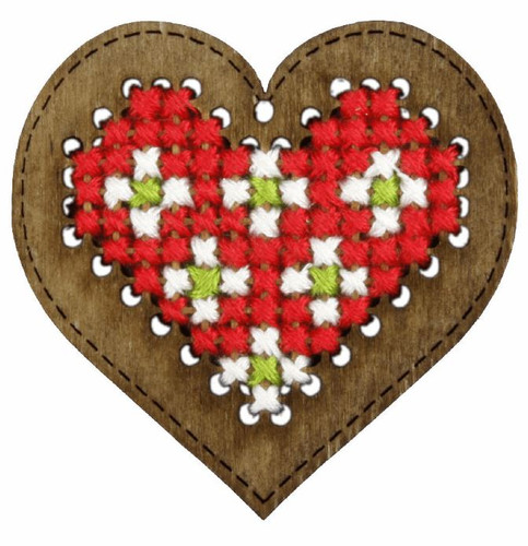 Plywood Ornament:  Red Heart Cross stitch Kit by Orchidea