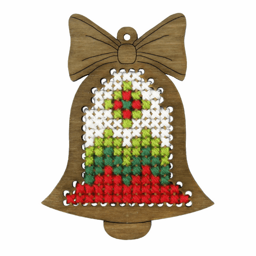 Plywood Ornament Red Bell Cross Stitch Kit by Orchidea
