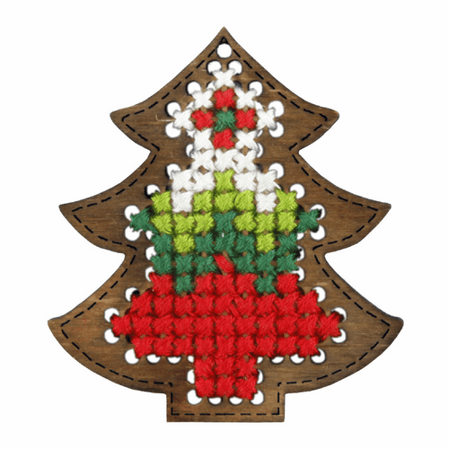 Plywood Ornament Red Christmas Tree Cross stitch Kit By Orchidea