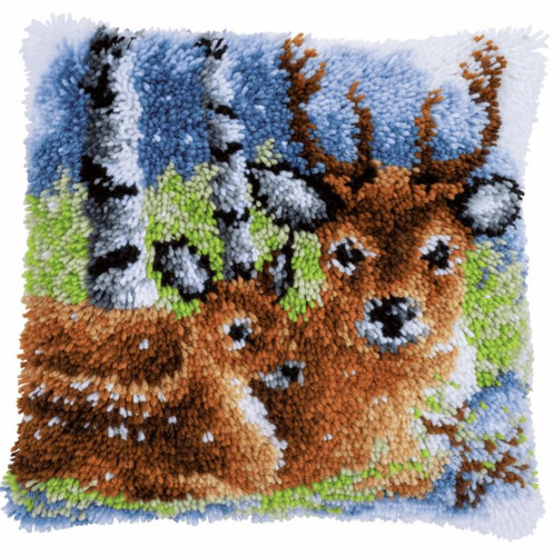 Deer in the Snow Cushion Latch Hook Kit by Vervaco