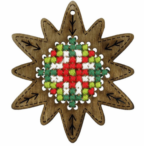 Plywood Ornament Star Cross Stitch Kit by Orchidea