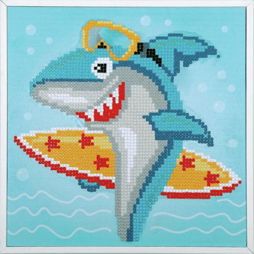 Surfing Shark Diamond Painting Kit By Vervaco