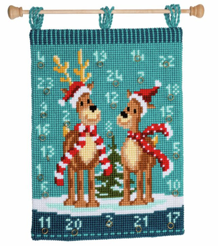 Elk with Scarves Wall Hanging Cross Stitch Kit by Vervaco
