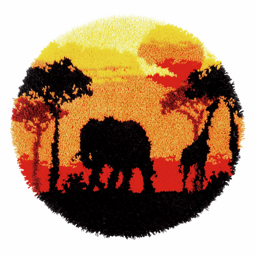 African Sunset Shaped Rug Latch Hook Kit By Vervaco