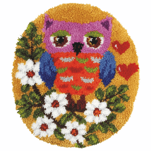 Owl Shaped Rug Latch hook Kit By Vervaco