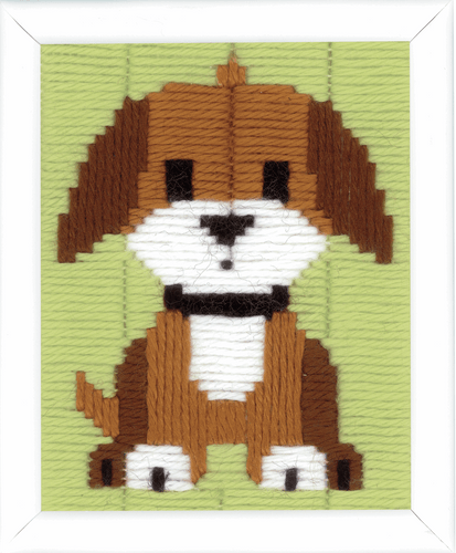 Brown Doggy Long Stitch Kit by Vervaco