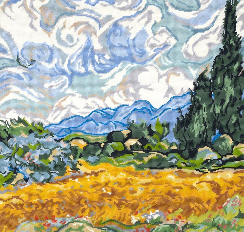 A wheatfield with Cypresses Tapestry Kit by Van Gogh