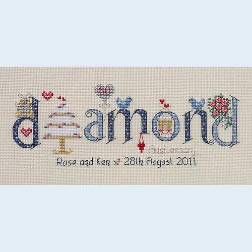 Diamond Anniversary Cross Stitch Chart Only by Nia