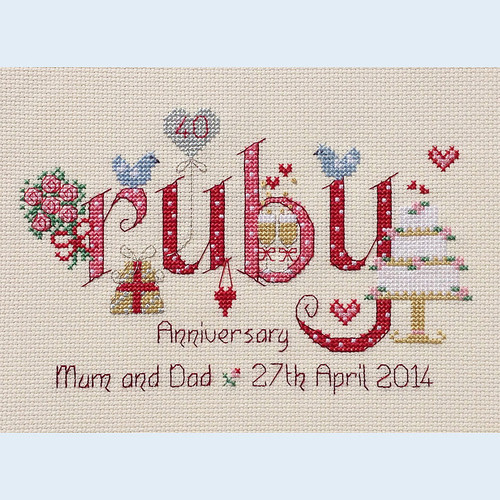 Ruby Anniversary Cross Stitch Chart only By Nia