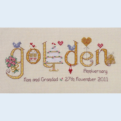 Golden Anniversary Cross Stitch Chart only by Nia