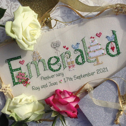 Emerald Anniversary Cross Stitch Chart only by Nia