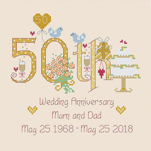 50th Wedding Anniversary Cross Stitch Chart only by Nia