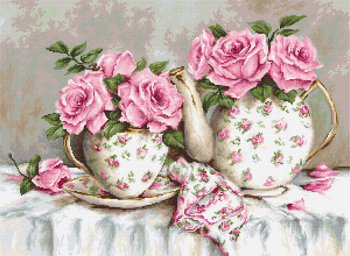 Morning Tea and Roses Counted Cross Stitch Kit by Luca-S