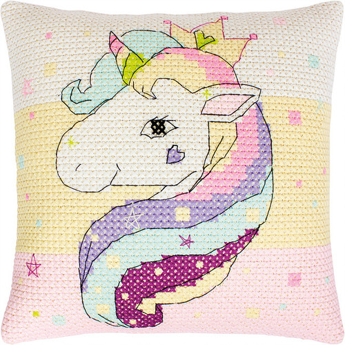 Unicorn Chunky Pillow Counted Cross Stitch Kit By Luca S