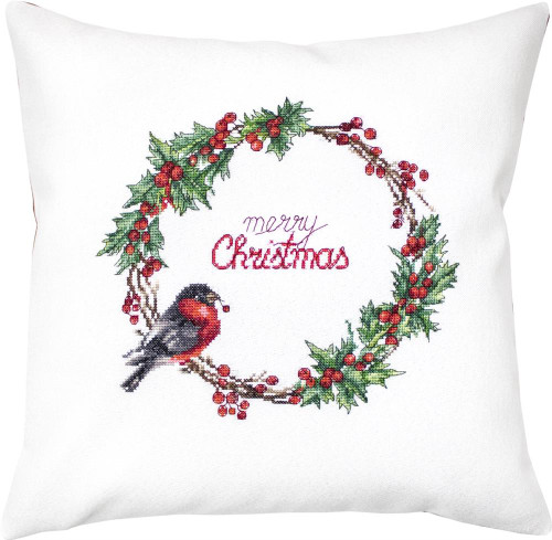 Merry Wreath Pillow Counted Cross Stitch Kit By Luca S