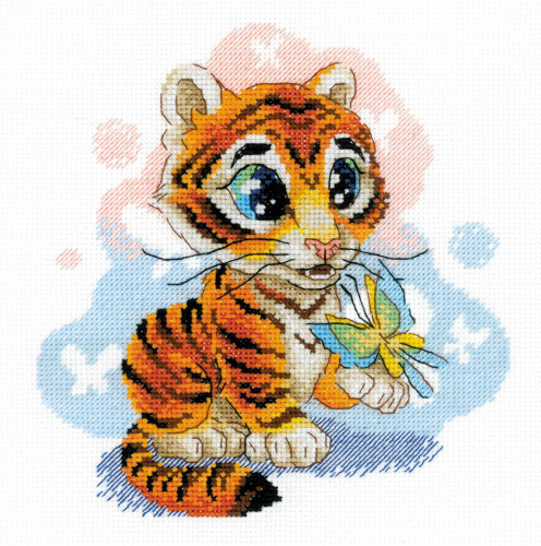 Curious Little Tiger Counted Cross Stitch Kit By Riolis
