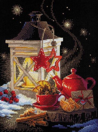 Winter Tea Time Counted Cross Stitch Kit by Riolis
