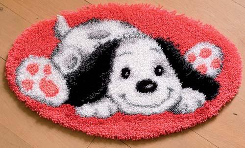 White dog Latch Hook Rug Kit