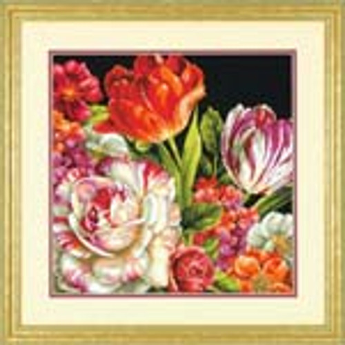 Bouquet On Black Needlepoint Kit By Dimensions