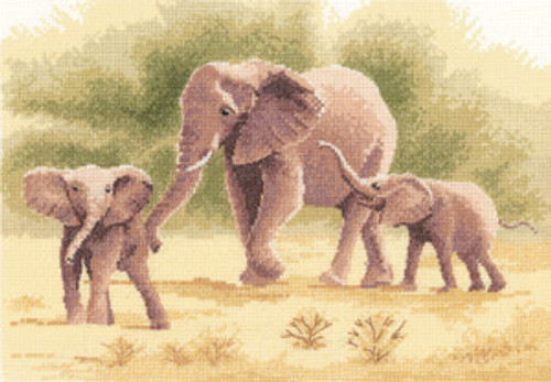 Elephants Cross Stitch Kit By Heritage