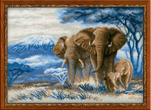 Elephants In The Savannah Cross Stitch Kit