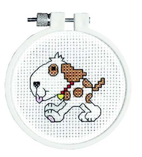 Doggy Cross Stitch Kti With Hoop By Janlynn