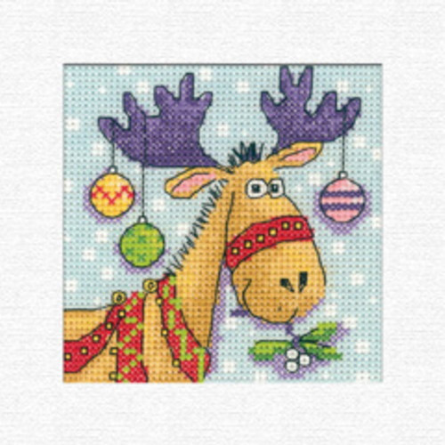 Reindeer Christmas Card Cross Stitch Kit By Heritage