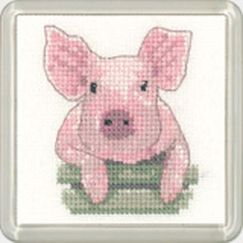 Pig Square Coaster Cross Stitch Kit