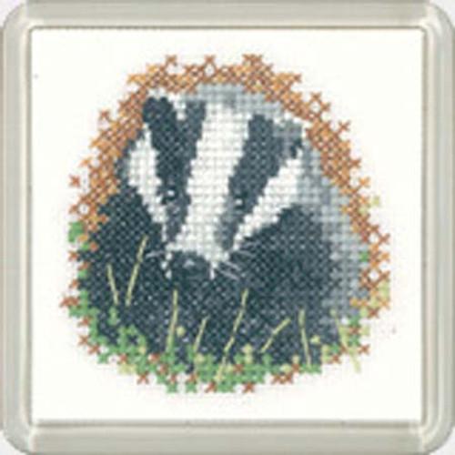 Badger  Coaster Cross Stitch Kit
