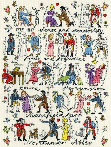 Jane Austen Cross Stitch Kit By Bothy Threads